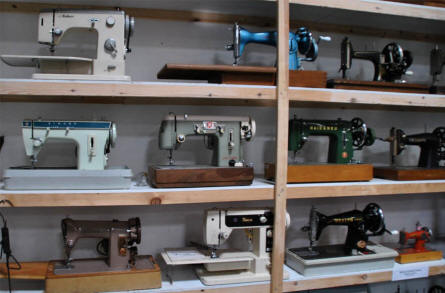 Some of the many different sewing machines displayed the the Hjallerup Mechanics Museum.