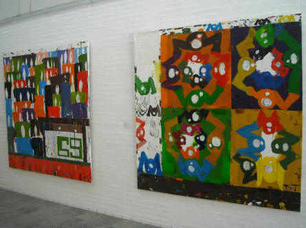 Some of the very colourful art by Tal R displayed at Holstebro Art Museum.