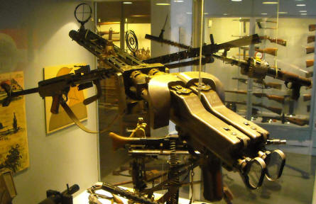 Some of the many weapons displayed as a part of the weapons collection at Holstebro Museum.