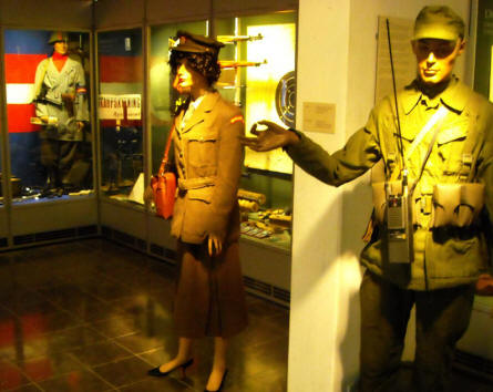 Danish military uniforms displayed as a part of the military collection at Holstebro Museum.