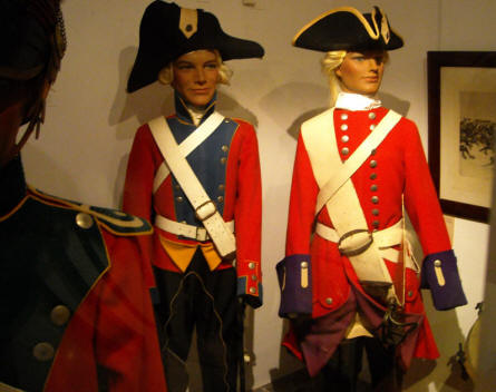 Some of the historic uniforms displayed as a part of the military collection at Holstebro Museum.