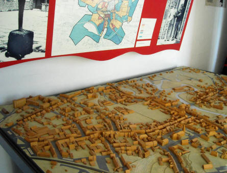 A map of the city of Holstebro displayed as a part of the local heritage collection at Holstebro Museum.