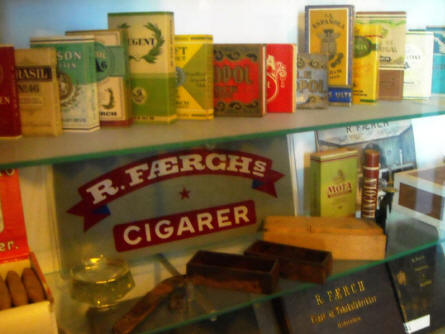 Vintage products from a local tobacco manufacturer displayed as a part of the local heritage collection at Holstebro Museum.
