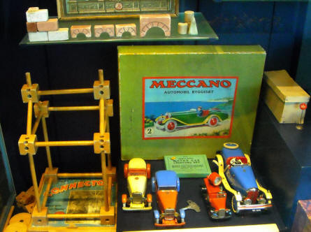 Different toys displayed as a part of the toys collection at Holstebro Museum.