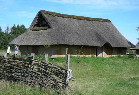 The replica of an Iron age house at Hvolris Iron Age Village.