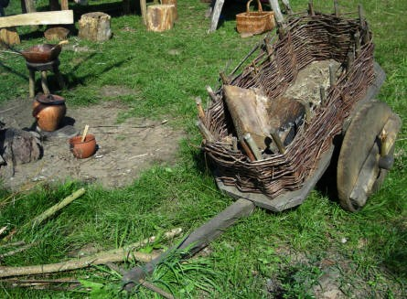 The replica of Iron age tools and pots at Hvolris Iron Age Village.