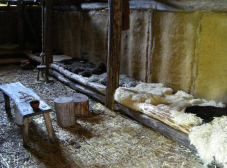 The interior from one of the iron age houses at Hvolris Iron Age Village.