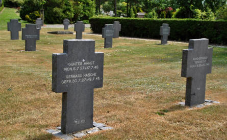 Some of the many German World War II graves at the Lemvig War Cemetery.