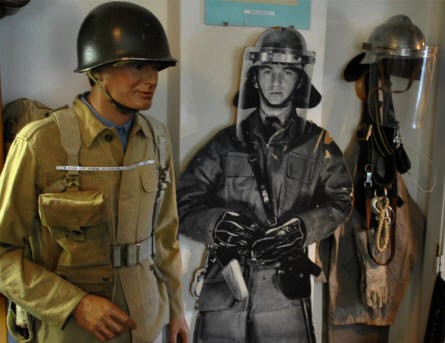 Danish military uniforms displayed at the Royal Danish Air Force Museum in Karup.