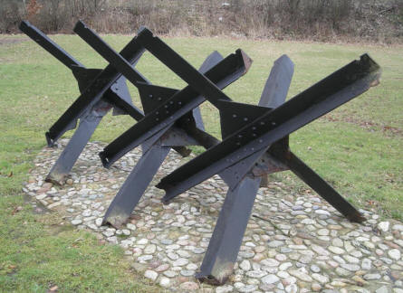 German World War II panzer obstacles at at the Danish Soldiers Memorial - at Rindsholm Inn.
