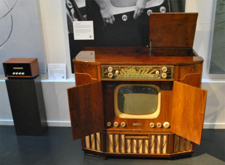 A vintage all-in-one B&O radio/TV solution displayed at the Struer / B&O museum.