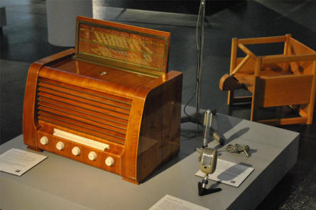 Some of the vintage B&O radio equipment displayed at the Struer / B&O museum.