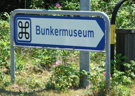 Road sign showing the way to the Atlantic Wall bunker complex in Hanstholm.
