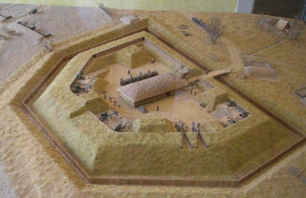 A scale model of some of the 1864 fortifications displayed inside the Dybøl 1864 Museum.