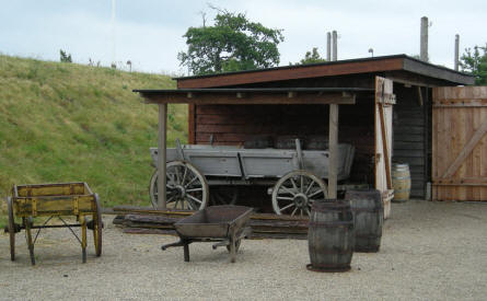 Some of the old 1864 fortifications and different types of equipment used at Dybøl have been rebuild outside the Dybøl 1864 Museum.