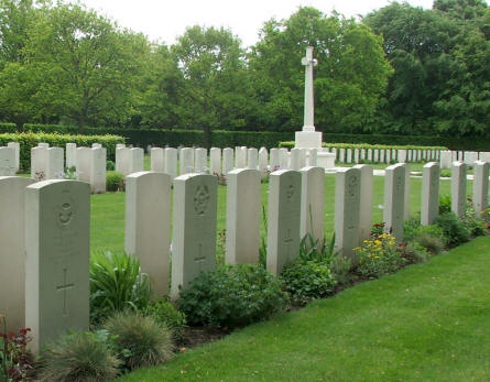 The Commonwealth part of Fourfelt Military Cemetery in Esbjerg is a standard British military cemetery with white headstones.