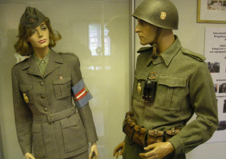 Uniforms used by the Danish Brigade (stationed in Sweden during World War II) displayed at the Home Guard Museum.