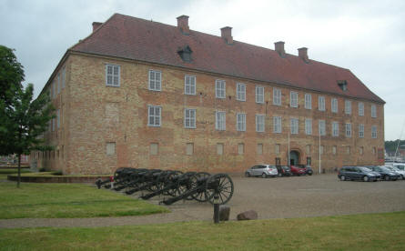 Sønderborg Castle - with a row of canons in front of it.