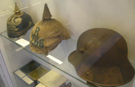 German military helmets - a part of the military collection at Sønderborg Castle.
