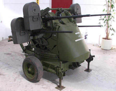 An American World War II anti-craft gun with four barrels used by the Danish Army after the war. Varde Artillery Museum.