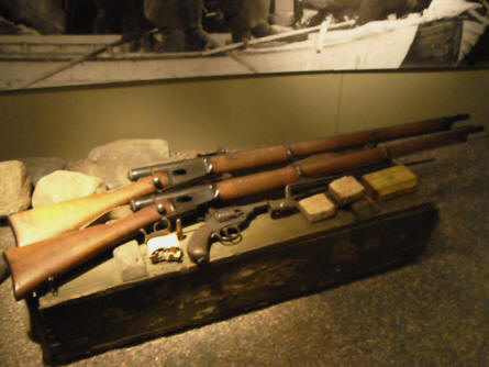 Some of the many rifles and other weapons at Helsinki Military Museum.