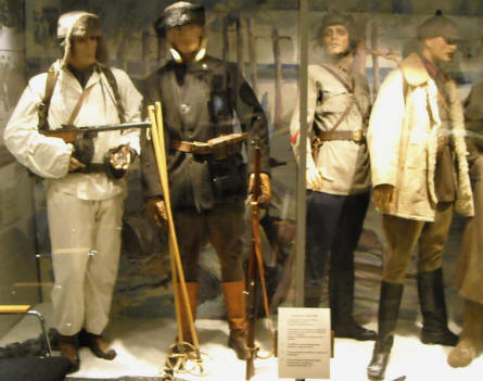 Some of the many winter uniforms displayed at Helsinki Military Museum.