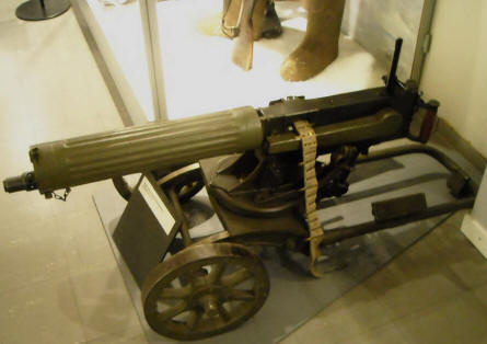 A vintage Russian machine gun displayed at the Helsinki Military Museum.