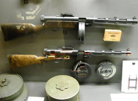 Vintage Russian sub-machine gun displayed at the Helsinki Military Museum.