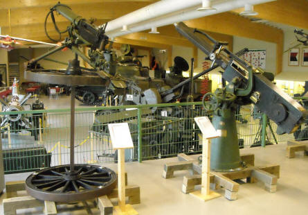 Some of the many anti-aircraft guns and machine guns displayed at the Anti-Aircraft Museum at Tuusula.