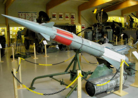 An anti-aircraft missile - and a radars - displayed at the Anti-Aircraft Museum at Tuusula.