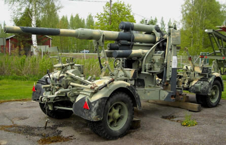 A classic anti-aircraft gun displayed at the Anti-Aircraft Museum at Tuusula.