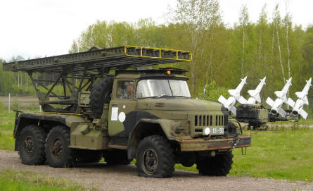 Some of the many anti-aircraft missiles - and a rocket launching truck - displayed at the Anti-Aircraft Museum at Tuusula.