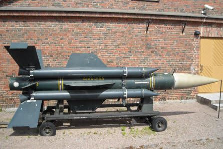 A surface-to-surface missile displayed at the out-door exhibition at the Artillery Museum at Hämeenlinna.
