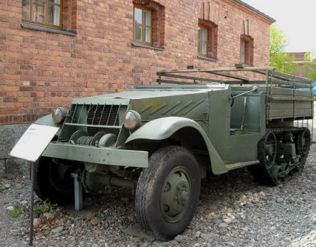 A World War II Russian built half-traced vehicle displayed at the out-door exhibition at the Artillery Museum at Hämeenlinna.