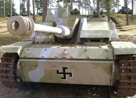 A German built World War II panzer - Sturmgeschütz III - with Finish markings at the Tank Museum at Parola.