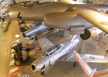Russian built aircrafts - used by the Finish Air Force - at the Aviation Museum of Central Finland.