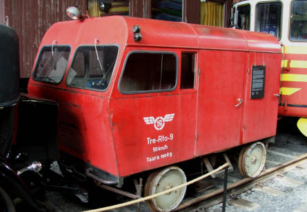 One of the funny railway vehicles displayed at the Finnish Railway Museum in Hyvinkää.