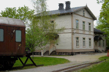 The old railway station building that is a part of the Finnish Railway Museum in Hyvinkää.