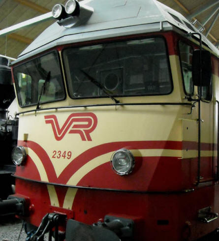 One of the more modern trains displayed at the Finnish Railway Museum in Hyvinkää.
