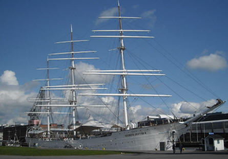 "The full-rigger ""Suomen Joutsen"" - a naval training ship and a stationary seaman's school - at the harbour near Forum Marinum - the maritime museum of Turku."