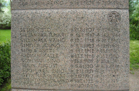 Some of the names on the memorial at Hattula.