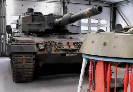 A modern German built Leopard II tank at the Tank Museum at Parola.