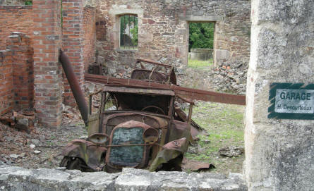 Most of the cars of Oradour-sur-Glane were at the garages - due to lack of fuel.