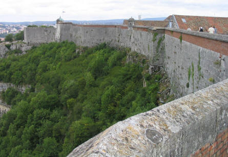 A view of the wall of Citadel Besançon.