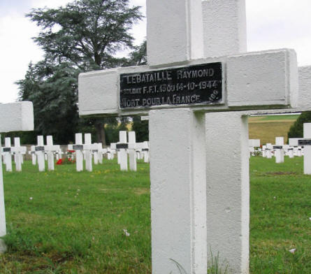 A French 1944 war graves at the Rougemont French War Cemetery.