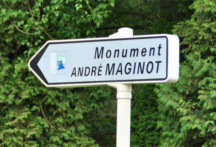A road sign showing the way to the André Maginot Monument at Fleury-devant-Douaumont - just north east of Verdun.