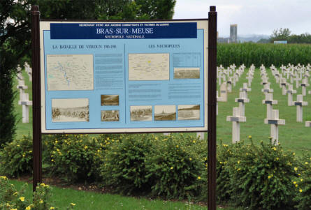 A sign outside the Bras-Sur-Meuse French Cemetery - just north of Verdun.