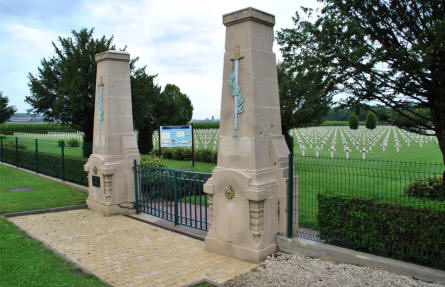 The entrance to the Bras-Sur-Meuse French Cemetery - just north of Verdun.