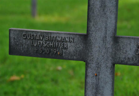The German World War I grave of the Airship Captain Gustav Bittmann (killed on the 5th of October 1918) at the Briey German War Cemetery.