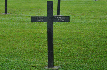 The German World War I grave of two German soldiers - that were killed in 1918 - at the Consenvoye German War Cemetery.